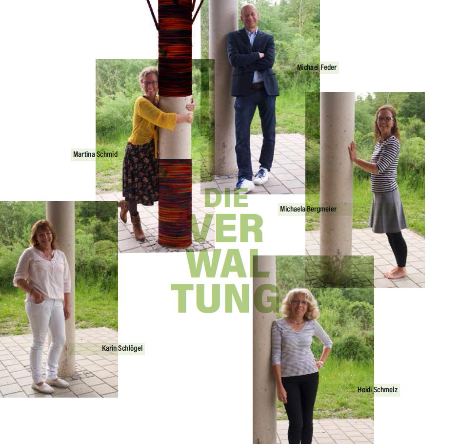 von links: Karin Schlögel (Personalverwaltung), Martina Schmid (Assistentin der Geschäftsführung), Michael Feder (Geschäftsführer), Heidi Schmelz (Buchhaltung), Michaela Bergmeier (Sekretariat)